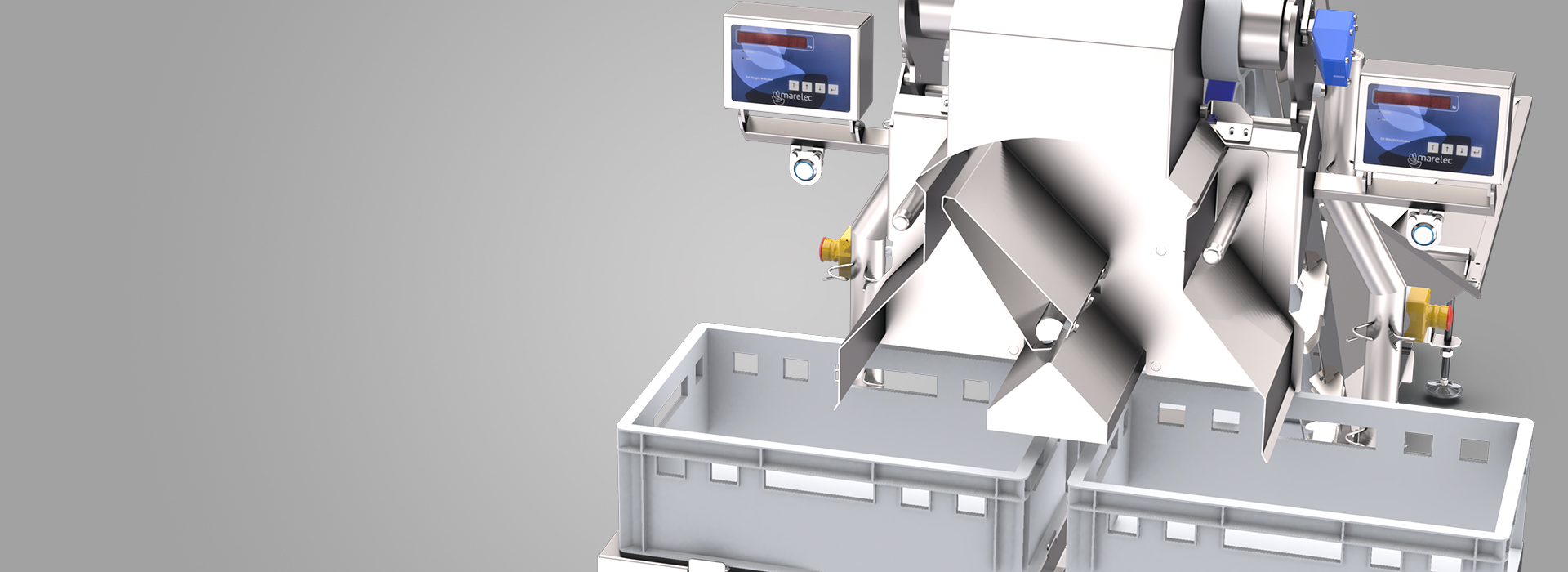 The MARELEC batch weigher uses a hopper scale or pocket weigher to make create fixed -weight batches consisting out of numerous products.